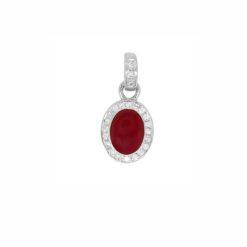 Pendentif ovale or blanc 18k diamants et corail rouge méditerranée