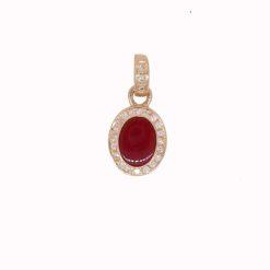 Pendentif ovale or jaune 18k diamants et corail rouge méditerranée