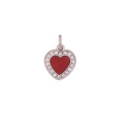 pendentif or blanc diamants et corail rouge de méditerranée