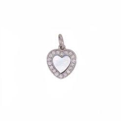 Pendentif or blanc 18k coeur nacre blanche et diamants