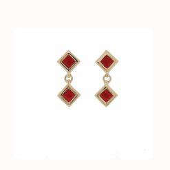 Boucles d'oreilles argent doré 2 carrés corail rouge méditerranée
