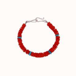Bracelet rondelles corail mediterranée et turquoise fermoir argent