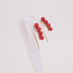 boucles d'oreilles or jaune 18k 8 perles corail rouge méditerranée