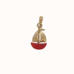 pendentif or jaune 18k bateau à voile coque corail rouge de méditerranée corse