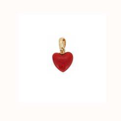 Pendentif coeur corail rouge méditerranée corse bélière or jaune 18k