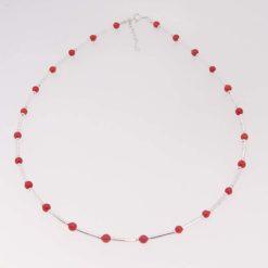 collier tubes argent et perles corail rouge de méditerranée