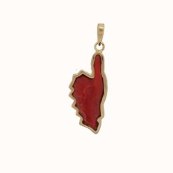 Pendentif corse relief or jaune 18k corail rouge et diamants