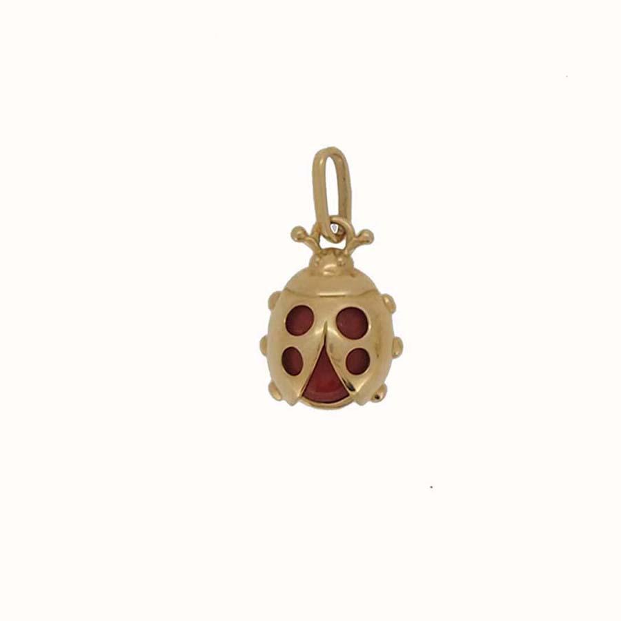pendentif coccinelle corail rouge de méditerranée et or jaune 18k