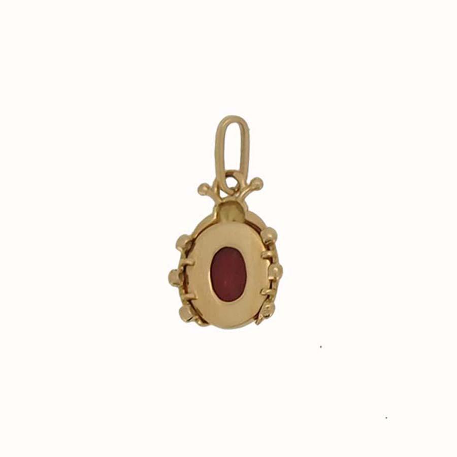 pendentif coccinelle corail rouge de méditerranée corse et or jaune 18k