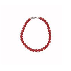Bracelet 6mm perles corail rouge de méditerranée corallium rubrum fermoir argent