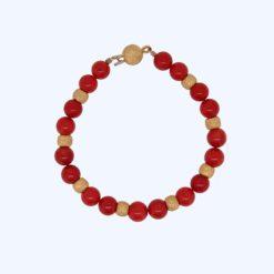 Bracelet perles corail rouge de méditerranée avec intercalaires et fermoir boules satinés or jaune 18k