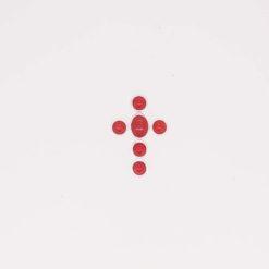 Pendentif croix argent et cabochons corail rouge de méditerranée