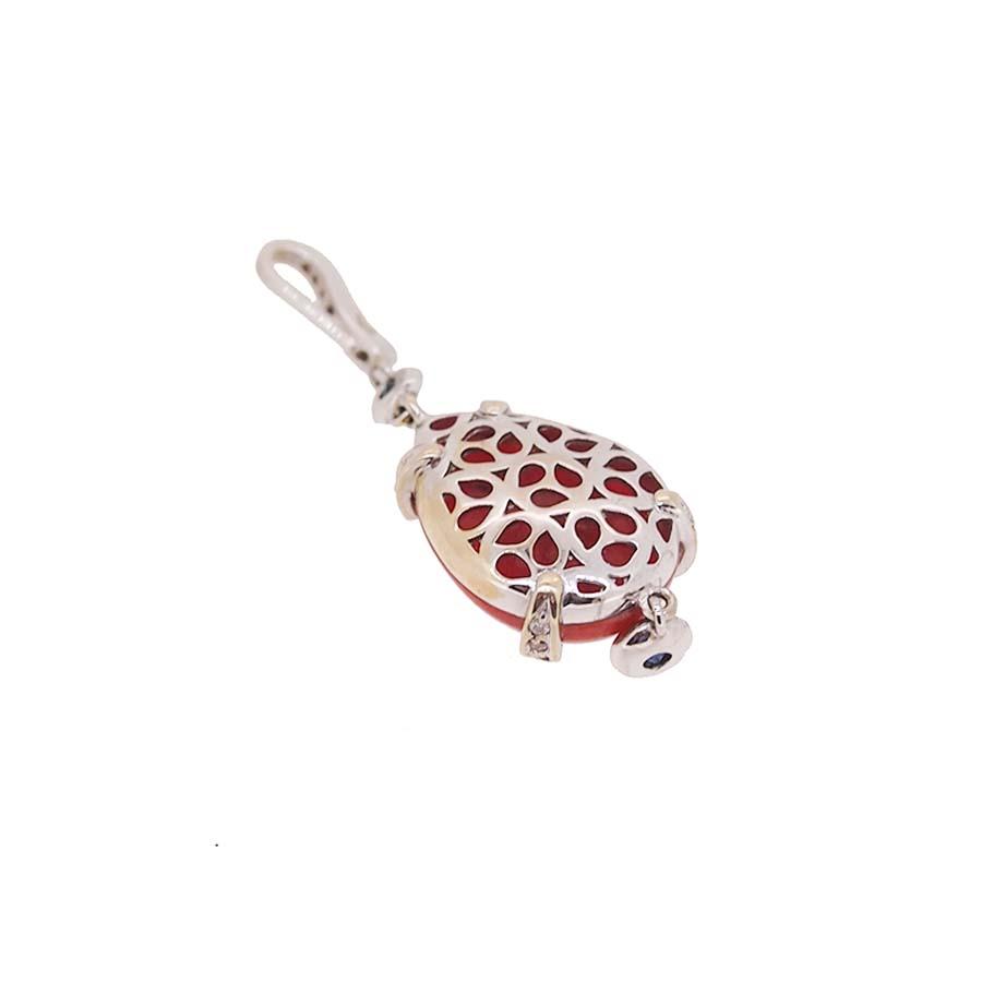 Pendentif or blanc 18k diamants saphirs et corail rouge de méditerranée corsica