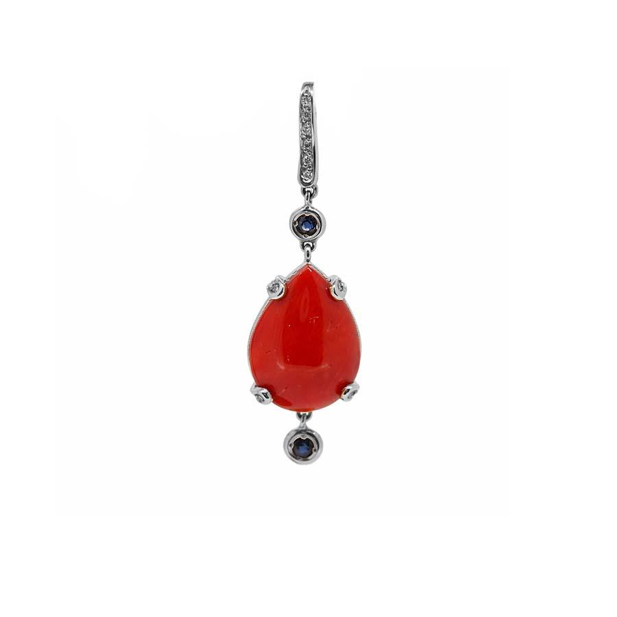 Pendentif or blanc 18k diamants saphirs et corail rouge de méditerranée