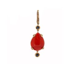 Pendentif or jaune 18k diamants saphirs et corail rouge de méditerranée