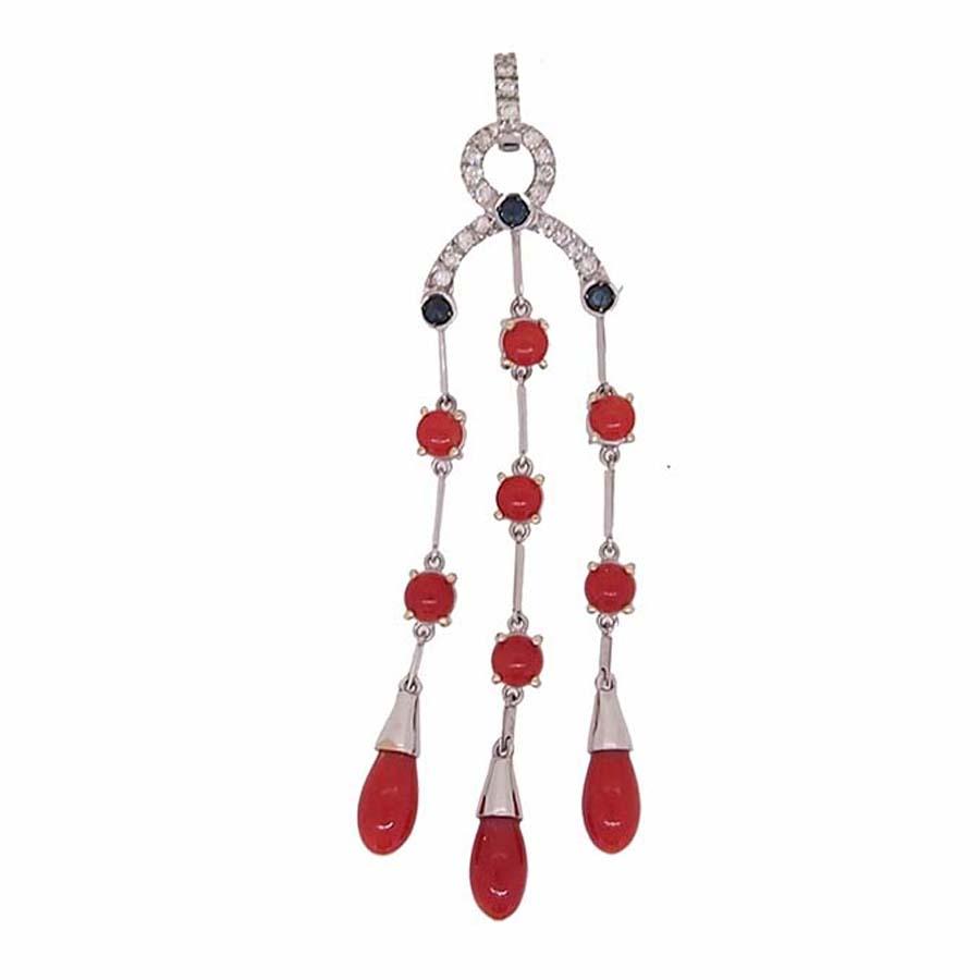 Pendentif or blanc 18k diamants et saphir et corail rouge de méditerranée