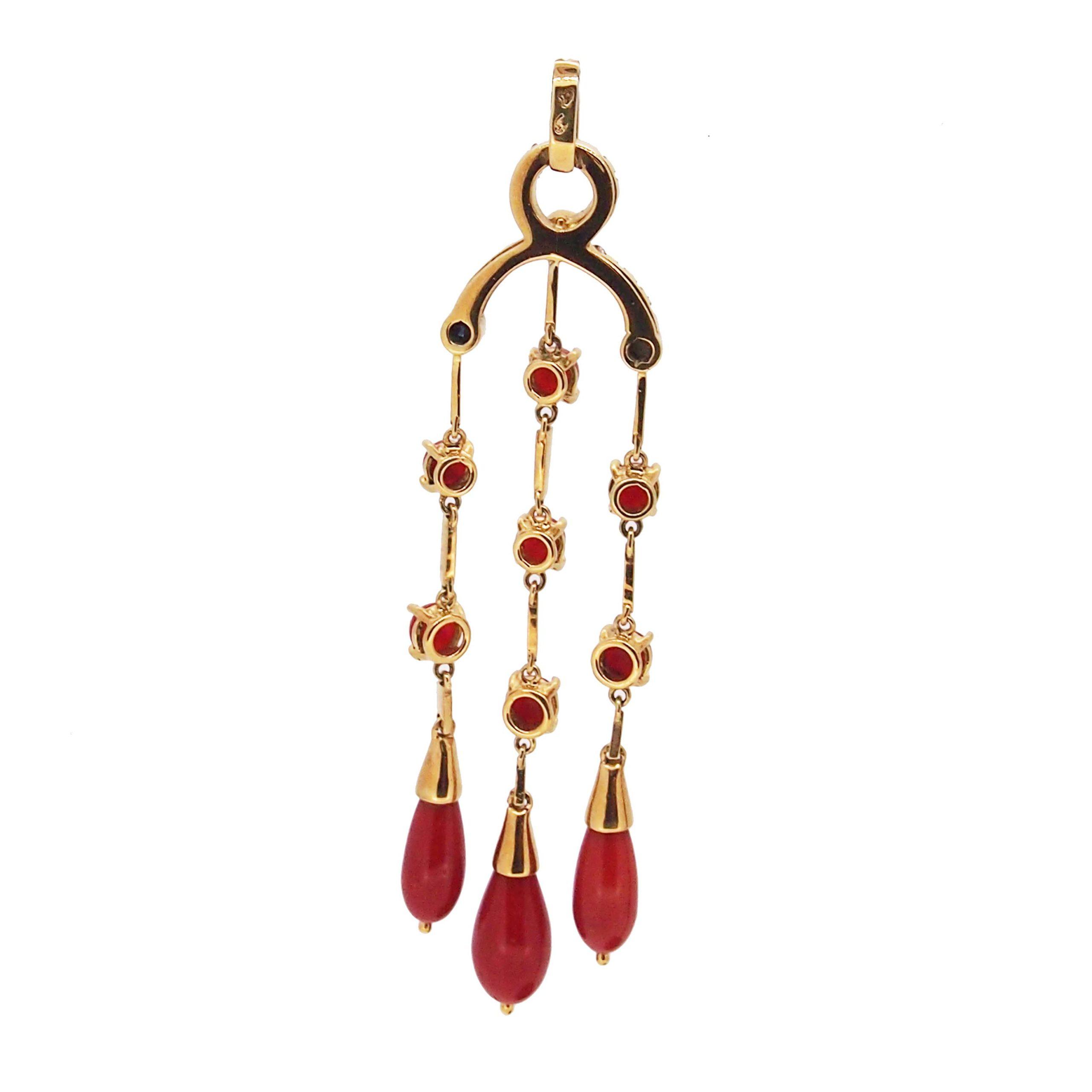 pendentif pampilles or jaune 18k corail rouge de méditerranée diamants et saphirs
