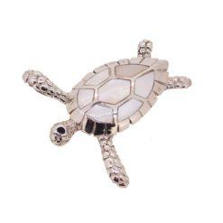 Pendentif tortue nacre blanche et argent