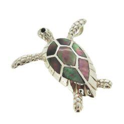 Pendentif tortue marine nacre grise