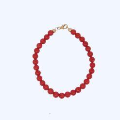 perles 6mm corail rouge de méditerranée fermoir or jaune 18k