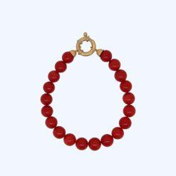 Bracelet perles corail rouge de méditerranée et fermoir bouée or jaune 18k