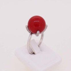 bague or blanc 18k et diamants perles corail rouge de méditerranée