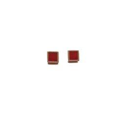 boucles d'oreilles collection aréa motif carré argent doré et corail rouge méditerranée corsica