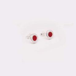 Boucles d'oreilles argent motif rond encastrement corail rouge de méditerranée