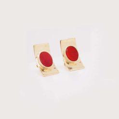 Boucles d'oreille argent doré et cabochons ovales corail rouge de méditerranée