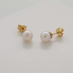 boucles d'oreilles or jaune 18 perles akoya
