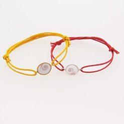 Bracelet cordon oeil sainte Lucie monture argent blanc ou doré petit modèle