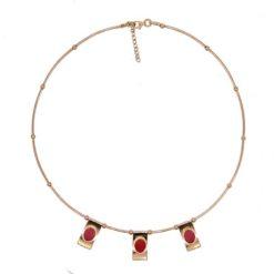 collier argent doré motif pagodes cabochon corail rouge de méditerranée