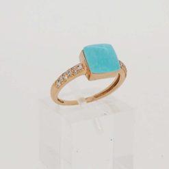 Bague or rose 18k diamants et coussin turquoise