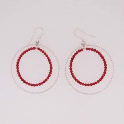 créole fil argent diamanté et perles corail rouge de méditerranée