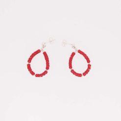 Boucles d'oreilles anneau rondelles corail rouge de méditerranée