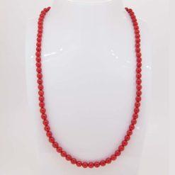 collier perles corail rouge de méditerranée fermoir mousqueton or jaune 18k