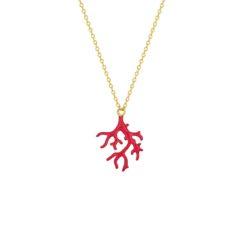 tour de cou plaqué or jaune motif branche corail en laque rouge