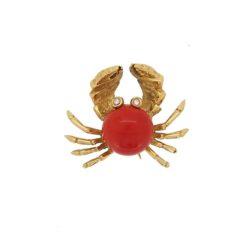 Broche or jaune 18k cabochon corail rouge méditerranée yeux en diamant