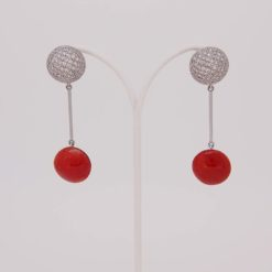Boucles d'oreilles or blanc 18k smarties corail rouge de méditerranée