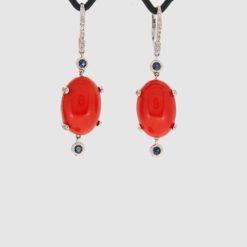 boucles d'oreilles or blanc 18k cabochon corail rouge de corse méditerranéeovales et saphir et diamants