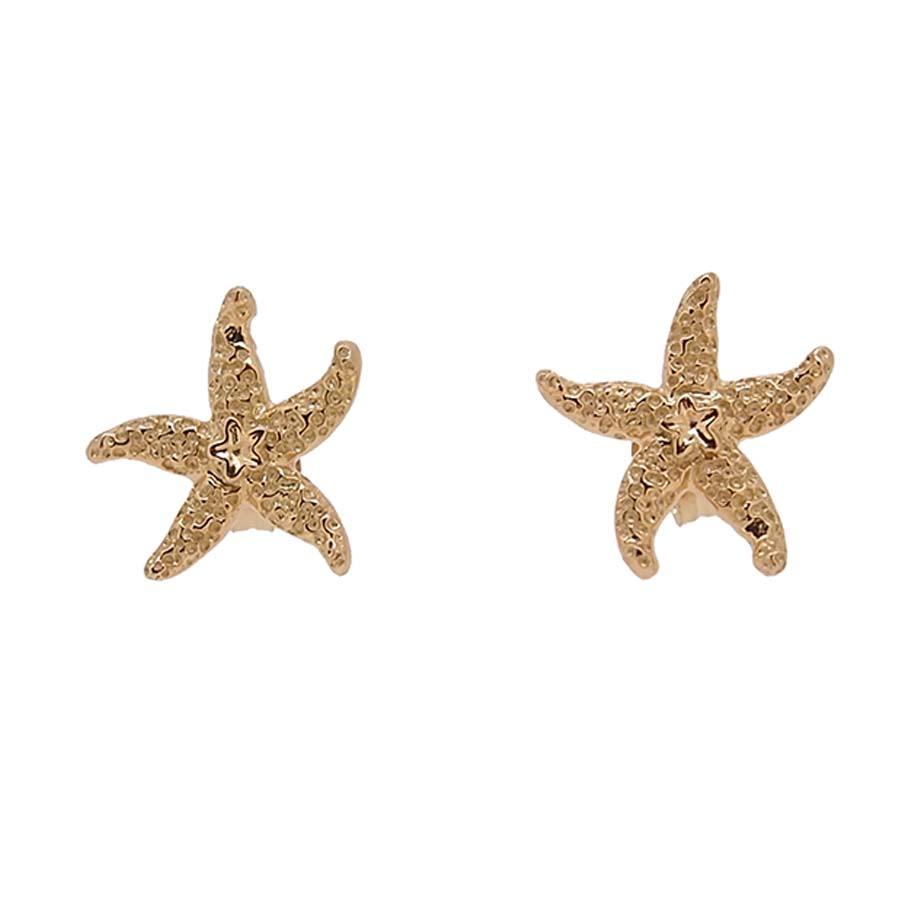 Boucles d'oreilles tout or jaune 18k étoile de mer système poussette