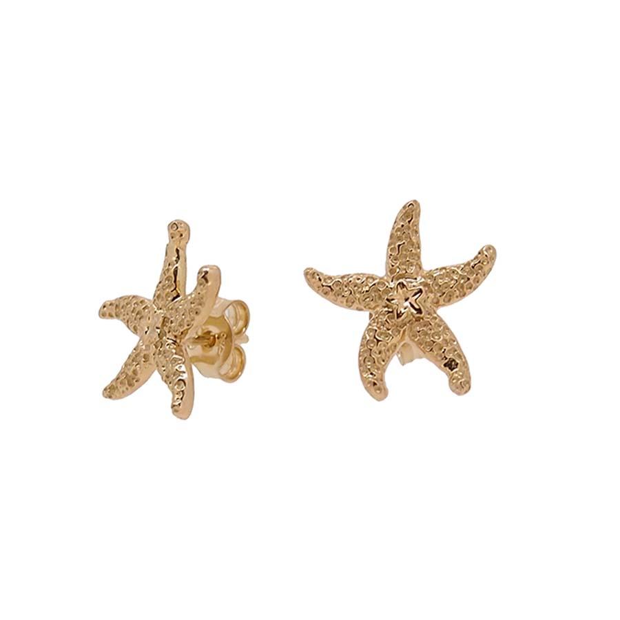 Boucles d'oreilles tout or jaune 18k étoile de mer