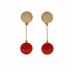 Boucles d'oreilles or jaune 18k pavage de diamants cabochon rond corail rouge de corse