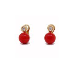 boucles d'oreilles or jaune 18k diamants et corail rouge de méditerranée