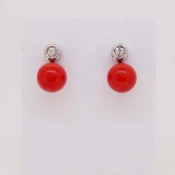 boucles d'oreilles or jaune 18k systeme alpa perle corail rouge de méditerranée corsica