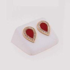 Boucles d'oreilles or jaune 18k diamants et goutte corail rouge de Méditerranée corse