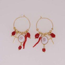 Boucles d'oreilles créoles oeil de saint lucie croix argent doré morceaux et branche corail rouge de méditerranée corse