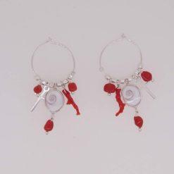 Boucles d'oreilles créoles oeil de saint lucie croix argent morceaux et branche corail rouge de méditerranée corsica