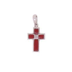 croix en pendentif or blanc 18k avec encastrement corail rouge de corse de méditerranée